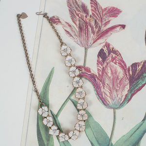 Jewelry - Antique Flower Necklace with Diamond Detail